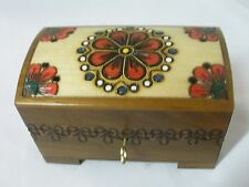Polish Country Flowers Wood Chest - Lock/ Key - Jewelry