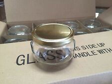 LOT of 36 Glass TUREEN CANDLE Canning JARS With GOLD Metal Lids (with seal) 12oz