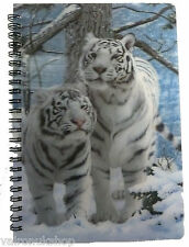 WHITE TIGER BIG CAT 3D LENTICULAR A6 NOTEBOOK