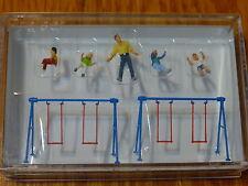 Preiser HO #10630 Children on Playground Swings -- 4 Children, Father, 2 Swings