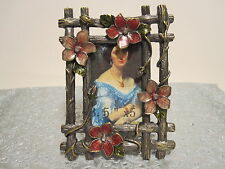 "Floral Jeweled With 2."" x 3.""  With Green Leave enamel Picture frame"