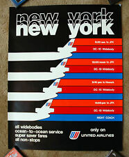 Vintage Original 1970s UNITED AIRLINE NEW YORK Travel Poster railway art air