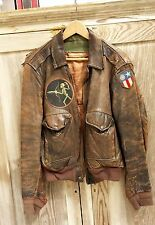WWII A2 LEATHER FLIGHT JACKET WITH SQUADRON PATCH & CBI BLOOD CHIT