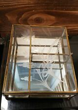 vintage brass & glass with etched flower display,  jewelry box mirror bottom