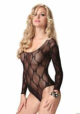 Sexy Black Bow Lace Long Sleeved Teddy Body One Size LA-81329 S/M 8 10 12 Briefs