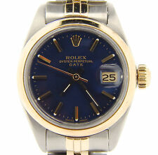 Rolex Date Ladies 2Tone 14K Yellow Gold Steel Watch Jubilee Band Blue Dial 6917
