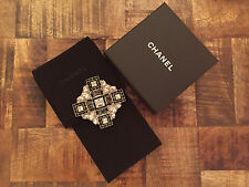 (1) Chanel Women's Runway Black Crystal Metal Brooch Pin Strass - Italy - New