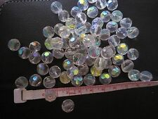 85pcs Round Faceted Drilled Crystal Glass Prism Beads