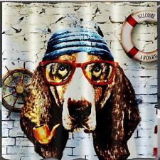 Dog With Pipe & Glasses Naval Bathroom Shower Curtain 180cm x 180cm Polyester