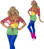 Ladies 1980s 80s Neon Aerobic Lets Get Physical Fancy Dress Costume Outfit 6-18