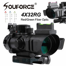4x32 RGB Illuminated Red/Green Sight Scope Fiber Optic Arrow Recticle