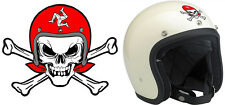 SKULL CAFE RACER TT ISLE OF MAN BIKER 90mmX70mm AUTOCOLLANT/STICKER MOTO SA140