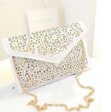 Ladies White Gold Envelope Square Clutch Bag Purse Clubbing Harajuku Autumn