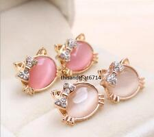 Hello Kitty Bow Opal Crystal CZ Stud Earring Set-2 Pairs- Clear and Pink in Box