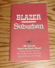Original 1981 Chevrolet Blazer & Suburban Owners Operators Manual 81 Chevy