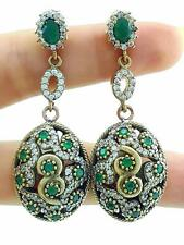 925 STERLING SILVER TURKISH HANDMADE JEWELRY EMERALD TOPAZ EARRINGS E1079