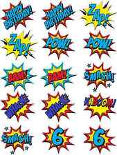 Superhero Batman Cartoon Speech Pop Art Bubble Edible Rice Paper Cupcake Toppers