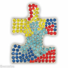 AUTISM PUZZLE RHINESTONE AUSTRIAN CRYSTAL PIN