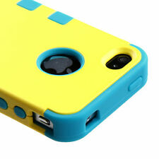 For iPhone 4 4S Rubber IMPACT TUFF HYBRID Case Skin Phone Cover Yellow Teal