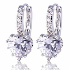 A+  18 kt white gold Heart Cut lever back  Diamond Earrings 3 CT