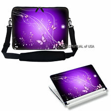 "15.6"" Laptop Computer Sleeve Case Bag w Shoulder Strap & Skin Light Purple"