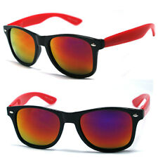 Retro Classic Wayfarer Sunglasses - Red / Fire Mirror Lens WF09