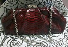 NWT Brighton Handbag Snap Closure Deep Red Embossed Patton Leather