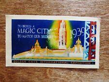 1939 Golden Gate International Exposition World's Fair San Francisco Decal CA