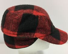 Vintage Trapper Hat Red Black Buffalo Plaid Wool Adult One Side Flap Warm Winter
