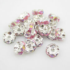 NEW for jewelry 100pcs 8MM Plated silver crystal spacer beads Pink AB ZY1