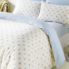 Blue Rosebud King Size Bedding & Pillowcases Duvet Cover Set 100% Brushed Cotton