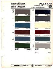 1948 PACKARD CUSTOM SUPER CLIPPER 6 & 8 DELUXE 48 PAINT CHIPS SHERWIN WILLIAMS