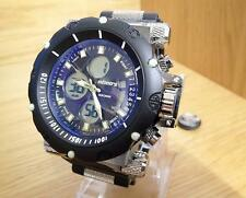 NEW Mens Chunky Military Infantry Sport Combi Dual Blue Tint Rubber Chrono Watch