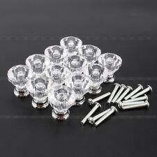 12pcs Poignée Cabinet Porte Acrylique Armoire Cristal Drawer Door Handle Crystal
