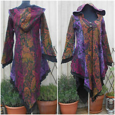 CASHMELON HOODED LONG JACKET, COAT, HIPPY, BOHO, PSY, QUIRKY, PIXIE SIZE 12
