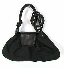 Emporio Armani Signature Baguette Shoulder Bag Handbag Purse Leather Black GUC
