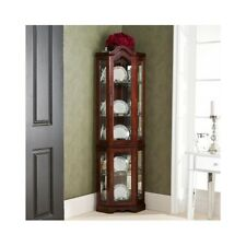 Corner Curio Cabinet Lighted China Display Case Glass Shelves Mahogany Finish