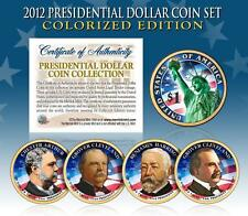 2012 U.S. MINT COLORIZED PRESIDENTIAL $1 DOLLAR COINS * COMPLETE SET OF 4 *