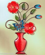 3D Blooming Spring Flower Bouquet Vase Butterfly Metal Wall Sculpture Art Decor