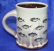 North Devon Pottery Slipware Sgraffito Shoal of Fish Mug by Russell Kingston