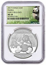 2017 China 10 Yuan 30g Silver Panda NGC MS69 ER Panda Label PRESALE SKU43849