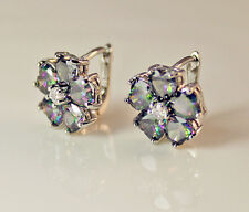 18K White Gold Filled - MYSTICAL Rainbow Topaz Clover Flower Lady Stud Earrings