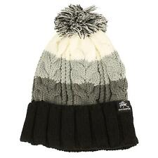 Winter Unisex Striped Pom Pom Cuff Fold Cable Knit Beanie Ski Snow Hat Cap Black