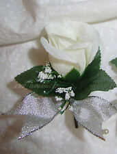 Ivory*Silver*Rose Boutonniere