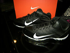 Brand New Mens Black & White Nike Alpha Shark 3/4 Football Cleats, Size 9.5