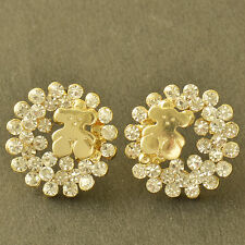 Cute small Flower Yellow Gold Filled Crystal Crystal Womens Stud Earrings Ear