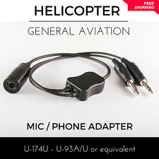 Helicopter to General Aviation Adapter Aircraft Pilot Headset U-174U U-93A/U mic