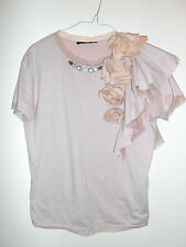 MAXMARA NUDE PINK BEIGE TOP WITH FLOWERS AND STONES 80% DISCOUNT RRP £299