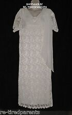 JESSICA LONDON – VINTAGE GOWN - IVORY SATIN LACE ANTIQUE STYLE – SIZE 20 W – EVC