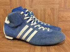 VTG�� Adidas Made In West Germany Wrestling Boots Blue Leather Sz 8.5 Fighting